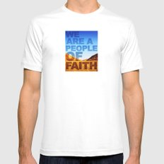 WE ARE A PEOPLE OF FAITH (Hebrews 11) White Mens Fitted Tee SMALL