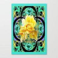 Yellow Rose Aqua Color F… Canvas Print