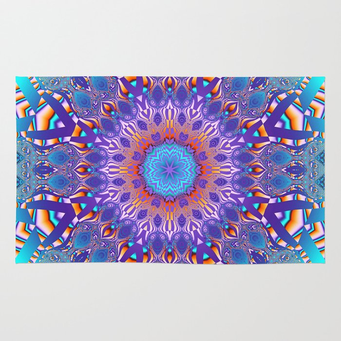 kaleidoscope pattern in turquoise purple pink and orange rug by thea walstra society6. Black Bedroom Furniture Sets. Home Design Ideas