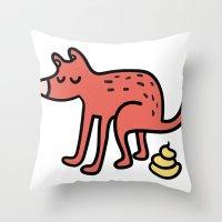 Pooping Dog Throw Pillow