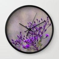 Purple Wildflowers Wall Clock