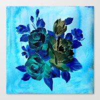 Vintage Blue Flowers  Canvas Print