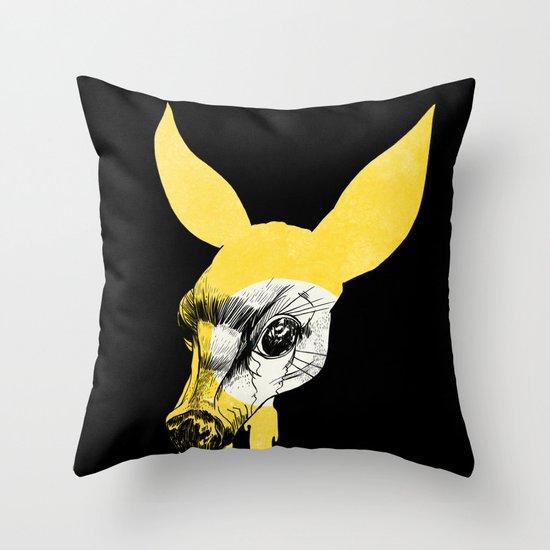 Fawn in Headlight Throw Pillow