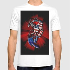 Patriotic Eagle White Mens Fitted Tee SMALL