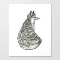 Fox- Feathered. Canvas Print