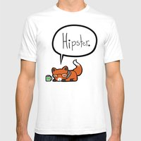 Hipster Fox Mens Fitted Tee White SMALL