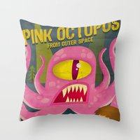 Pink octopus from outer space Throw Pillow