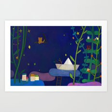 Attic cat Art Print