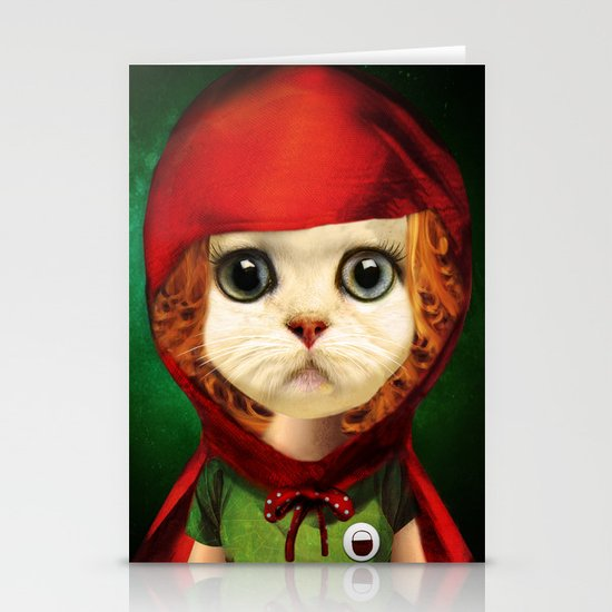 Kitten red riding  Stationery Card