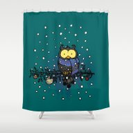 Owl In The Snow Shower Curtain