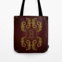Monogram B Seahorse Tote Bag