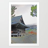 Temple at Dusk Art Print