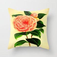 Vintage Camellia Print Throw Pillow
