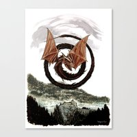 Spiral Dragon Over Poena… Canvas Print