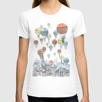 white T-shirts featuring Voyages over Edinburgh by David Fleck