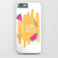 iPhone Cases featuring Be Happy by Jenna Davis Designs