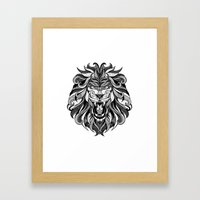 Angry Lion - Drawing Framed Art Print