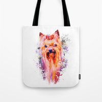 Drippy Jazzy Yorkshire Terrier Colorful Dog Art by Jai Johnson Tote Bag