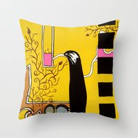 SIPPING The SWEET NECTAR… Throw Pillow