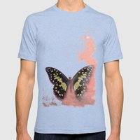 Vintage Butterfly 3 Mens Fitted Tee Tri-Blue SMALL