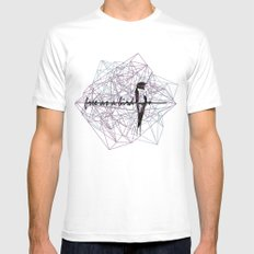 free as a bird White SMALL Mens Fitted Tee
