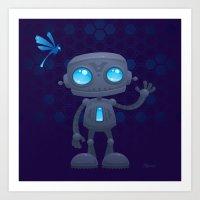Waving Robot Art Print