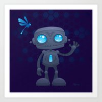 Waving Robot Art Print