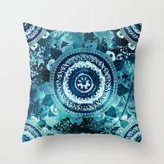 Teal Sea Mandala Throw Pillow