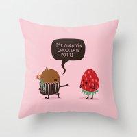Mi Corazón Chocolate por ti (SPANISH) Throw Pillow