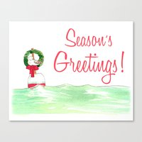 Season's Greetings Seagu… Canvas Print