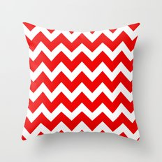 Chevron Red White Throw Pillow