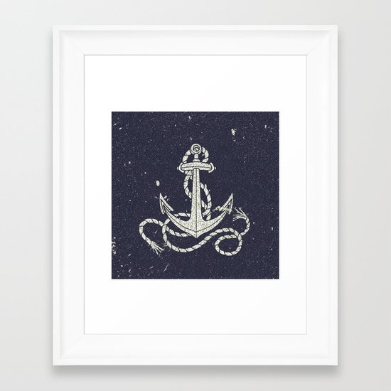 Navy Blue Nautical White Anchor for Sailor Texture Framed Art Print