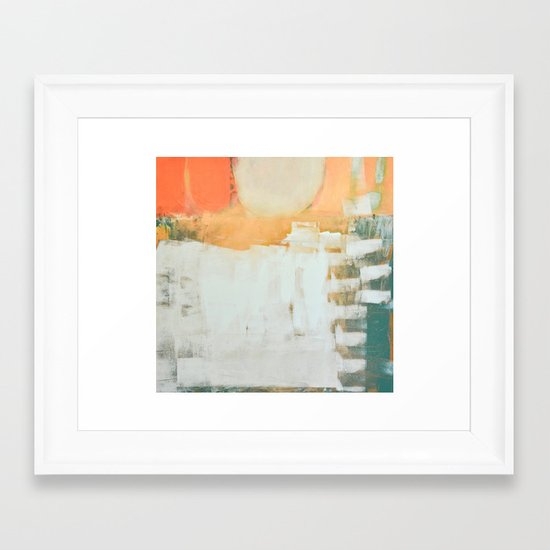 abstract, orange and green Framed Art Print