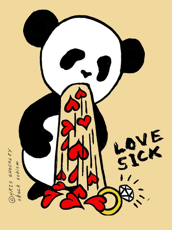 LOVESICK PANDA - cream Art Print