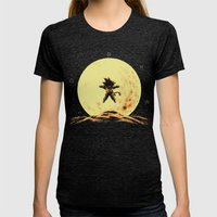 Full Moon Womens Fitted Tee Tri-Black SMALL