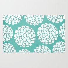 Turquoise Blossoms Rug