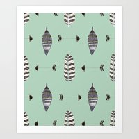 Feather Arrow Blue Art Print