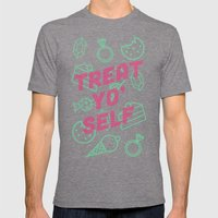 Treat Yo' Self Mens Fitted Tee Tri-Grey SMALL