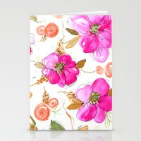 All-Pink Double Spring Floral Stationery Cards