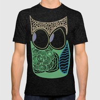 Whimsical Owl Mens Fitted Tee Tri-Black SMALL
