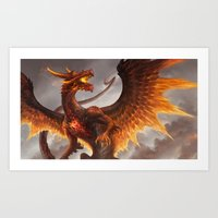 Red Crystal Dragon Art Print