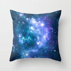 Violet Teal Galaxy Nebula Throw Pillow