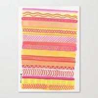 Tribal#1 (Orange/Pink/Yellow) Canvas Print