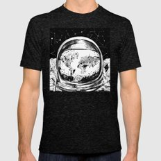 astronaut world map black and white 1 Mens Fitted Tee Tri-Black SMALL