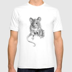Traveler Mouse Mens Fitted Tee SMALL White