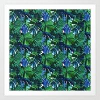 Palm Leaf Blue Green Art Print