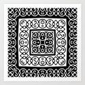 Black and White Floral Square Design Print Art Print