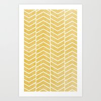 chevron Art Prints featuring Yellow Chevron by Zeke Tucker