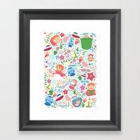 Ponyo Pattern - Studio Ghibli Framed Art Print