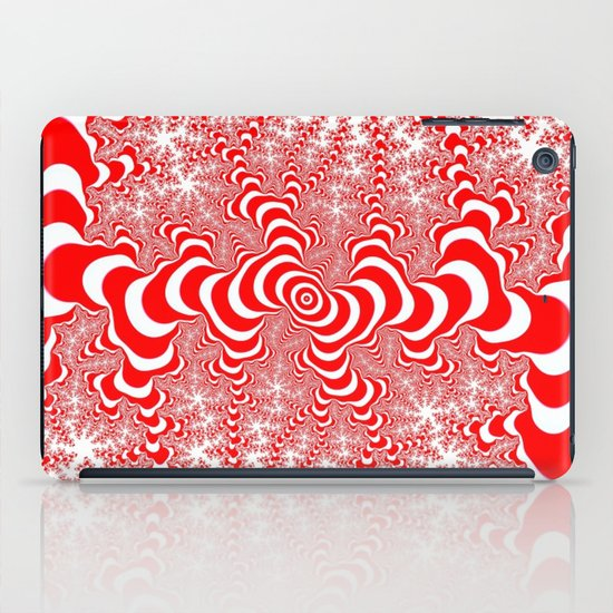 red and white fractal iPad Case